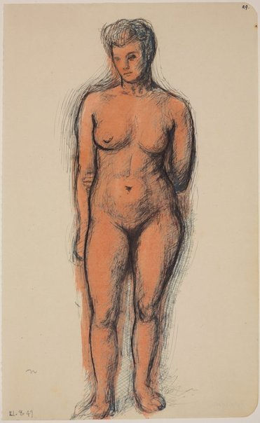 An image of Studies of the nude (Standing female nude, left hand behind back, front view) by James Gleeson