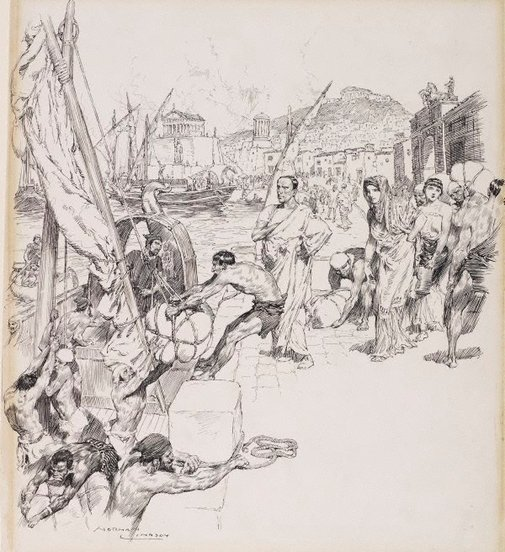 An image of The embarkation by Norman Lindsay