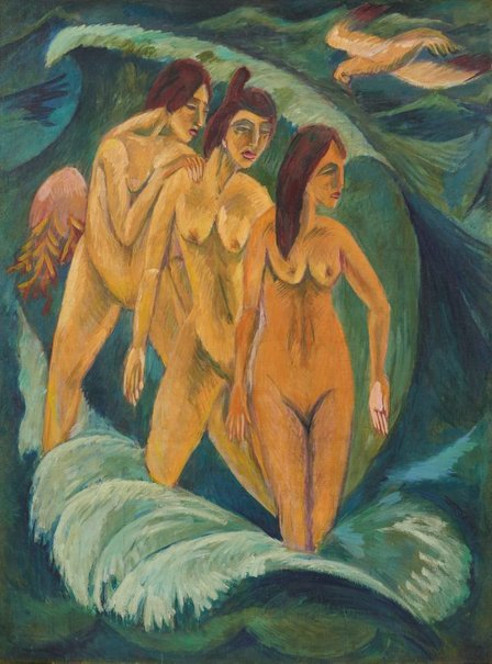 An image of Three bathers by Ernst Ludwig Kirchner
