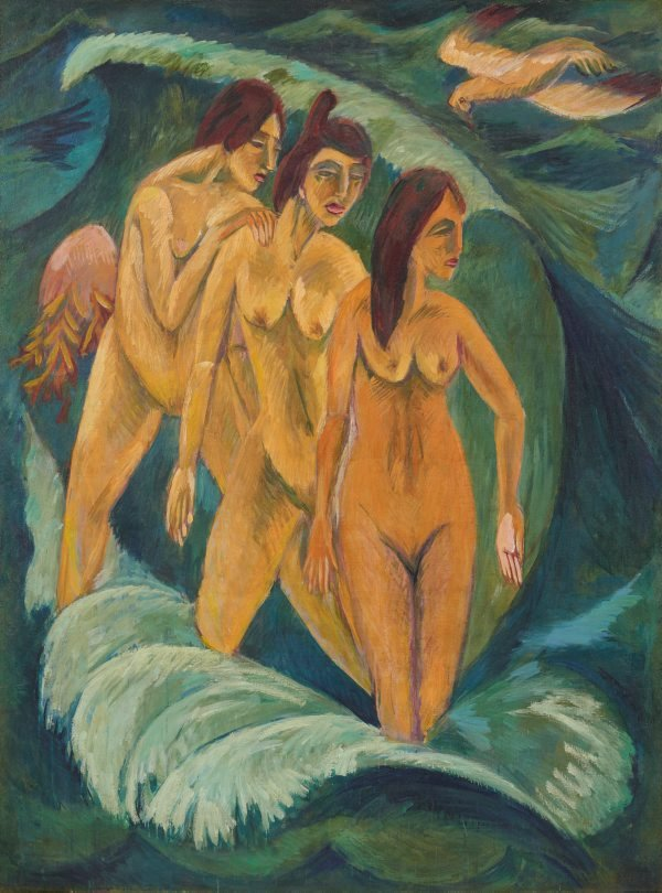 An image of Three bathers
