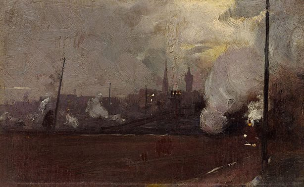 AGNSW collection Tom Roberts Evening train to Hawthorn (circa 1889) 158.1991