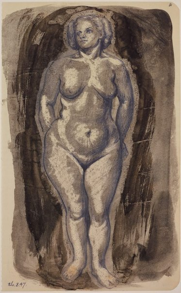 An image of Studies of the nude (Standing female figure, front view) by James Gleeson