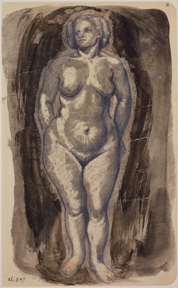 An image of Studies of the nude (Standing female figure, front view)