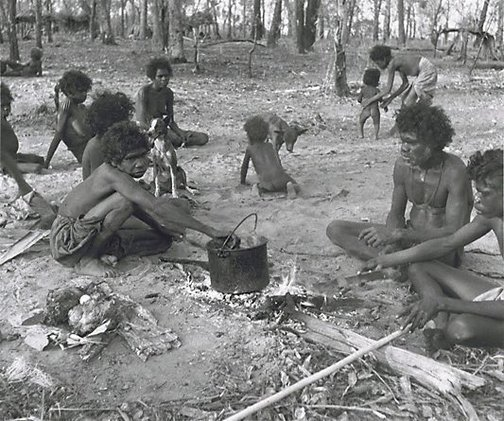 An image of Early morning camp scene I, Aralawui Djarari, Nagalarramba, Liverpool River, Arnhem Land by Axel Poignant