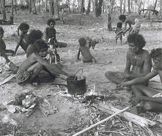 An image of Early morning camp scene I, Aralawui Djarari, Nagalarramba, Liverpool River, Arnhem Land