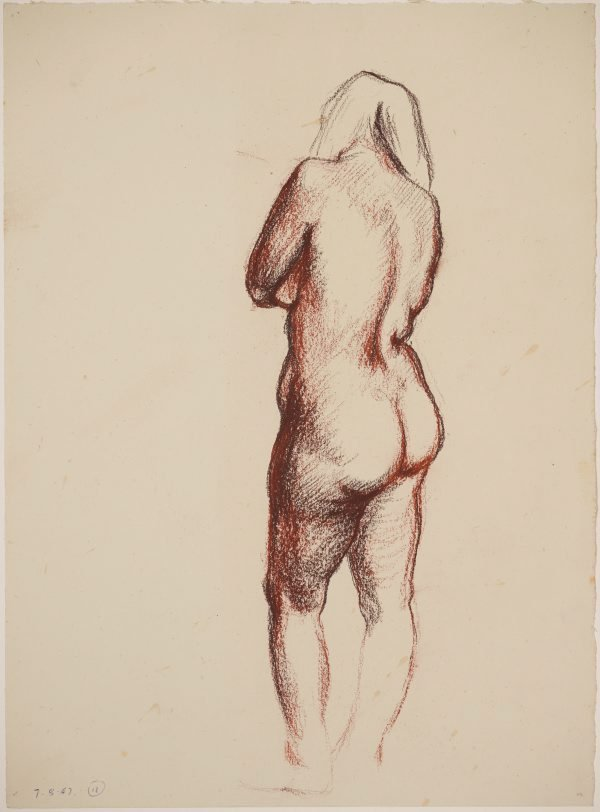 An image of Studies of the nude (Standing female nude, back)