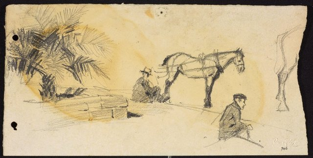An image of recto: Cabby waiting beside raised garden and Back legs of a horse verso: Cab horse