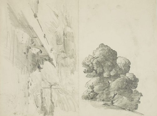 An image of recto: Landscape over the plain verso: Gore Creek aqueduct and Tree by Lloyd Rees