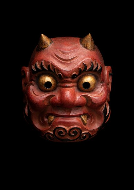 An image of Kagura mask of a demon (oni) by Kitazawa Hideta