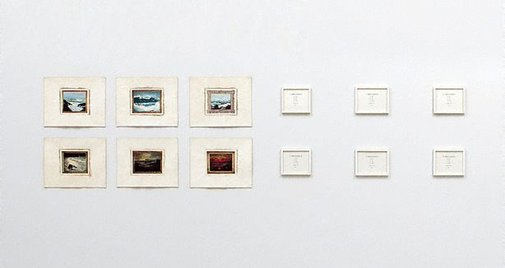 An image of 52 displacements (nos 25, 31, 37, 43, 50, 52) by Imants Tillers