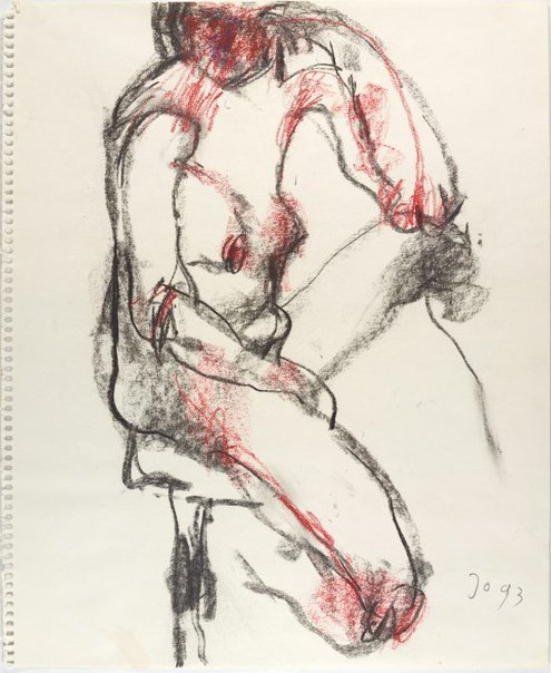 An image of Seated female nude, left arm on knee by John Olsen
