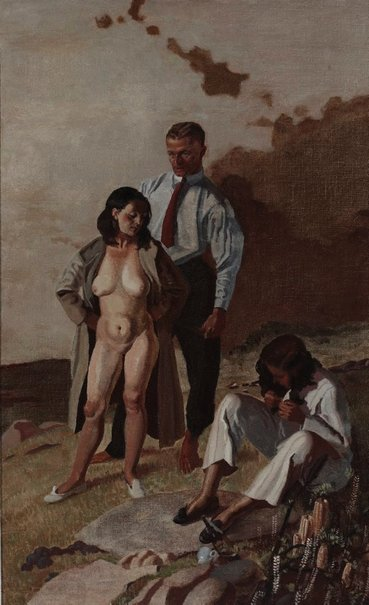 An image of (Untitled - Figure group: male and female standing, female seated) by John Passmore