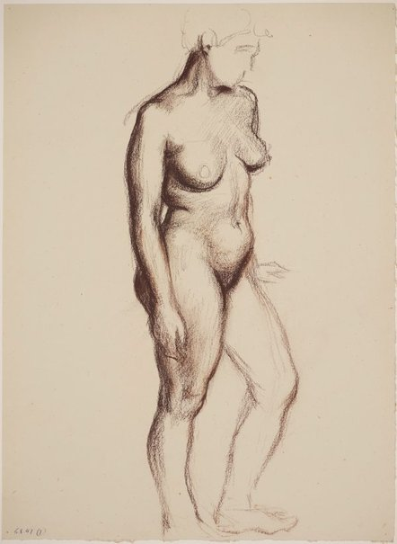 An image of Studies of the nude (Standing female nude, front view) by James Gleeson