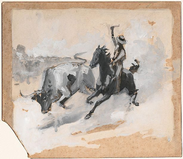 An image of Study for 'Rounding up a straggler'