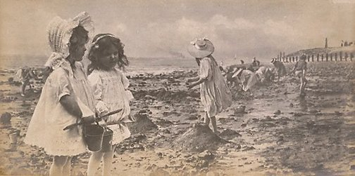 An image of Untitled (Little girls with buckets & spades) by Francis J Mortimer