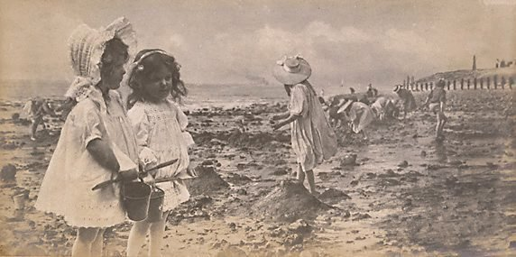 An image of Untitled (Little girls with buckets & spades)