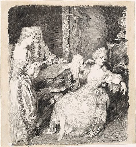 An image of The old bachelor (scene from Congreve's play) by Norman Lindsay