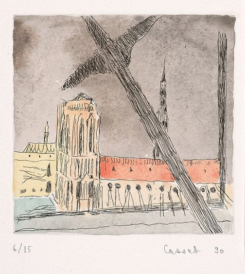 An image of Beam of Pompidou across Cathedral by Judy Cassab