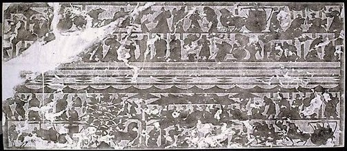 An image of Rubbing of stone relief from the offering shrines of Wuliangci of the Han dynasty. Traditional grouping Wu Liang Group 3 by