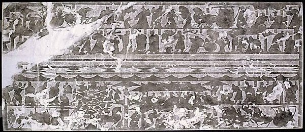 An image of Rubbing of stone relief from the offering shrines of Wuliangci of the Han dynasty. Traditional grouping Wu Liang Group 3