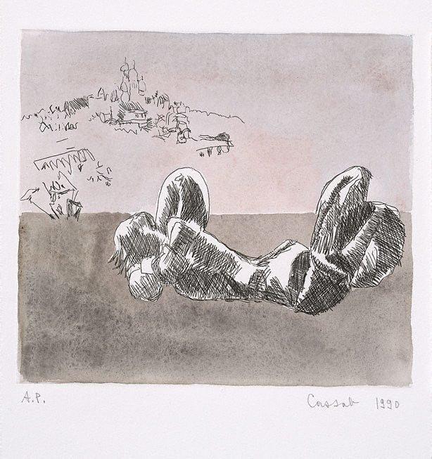 An image of Laurens' 'Caryatide' and Sacré Coeur