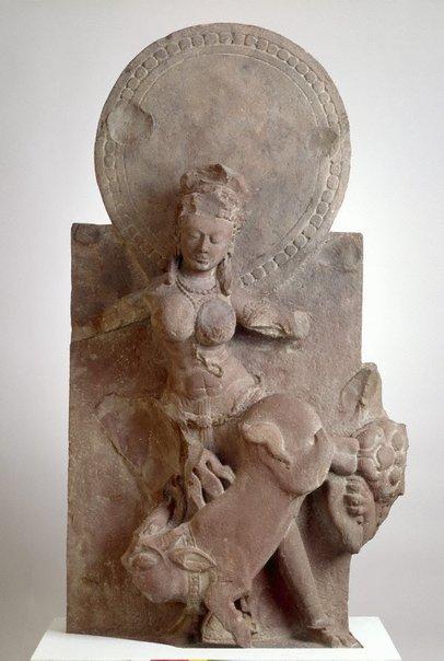 An image of Durga slaying the buffalo demon Mahisha (Mahishasuramardini) by