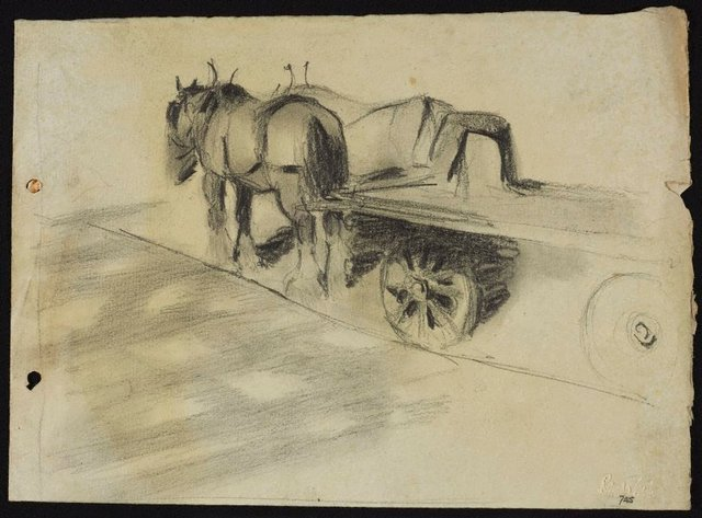 An image of Clydesdales with a dray