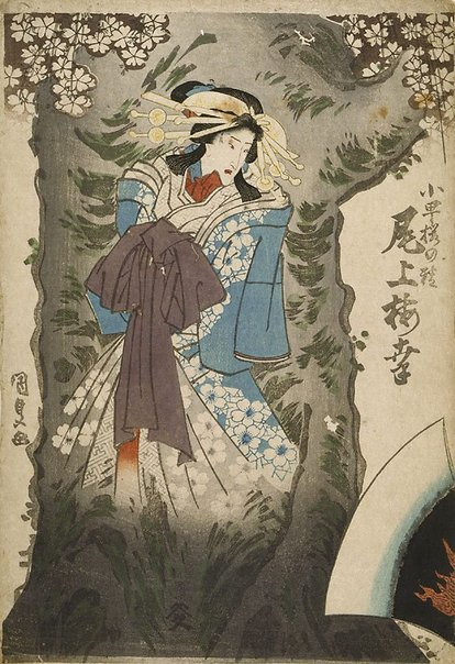 An image of Onoe Baiko as spirit of cherry tree by Utagawa KUNISADA /TOYOKUNI III