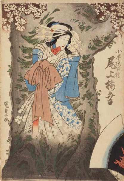 An image of Onoe Baiko as spirit of cherry tree by Utagawa Kunisada/Toyokuni III
