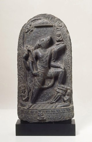 AGNSW collection Varaha rescuing the earth goddess, Bhudevi 10th century