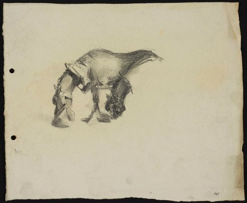 An image of recto: Clydesdale with a nosebag verso: Men on benches in Macquarie Place by Lloyd Rees