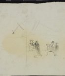 Alternate image of recto: Clydesdale with a nosebag verso: Men on benches in Macquarie Place by Lloyd Rees