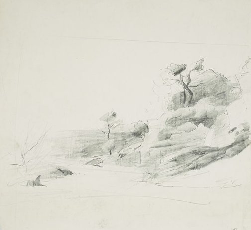 An image of Rocky hillside by Lloyd Rees