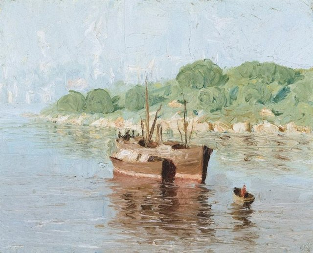 Old boats, Wollstonecraft, (1918) by Lloyd Rees