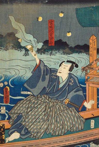 An image of Catching fireflies: Miyagi Asojirô by Utagawa Kunisada/Toyokuni III