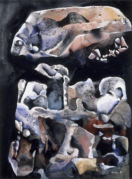 An image of Desert shapes, the boulder by Judy Cassab