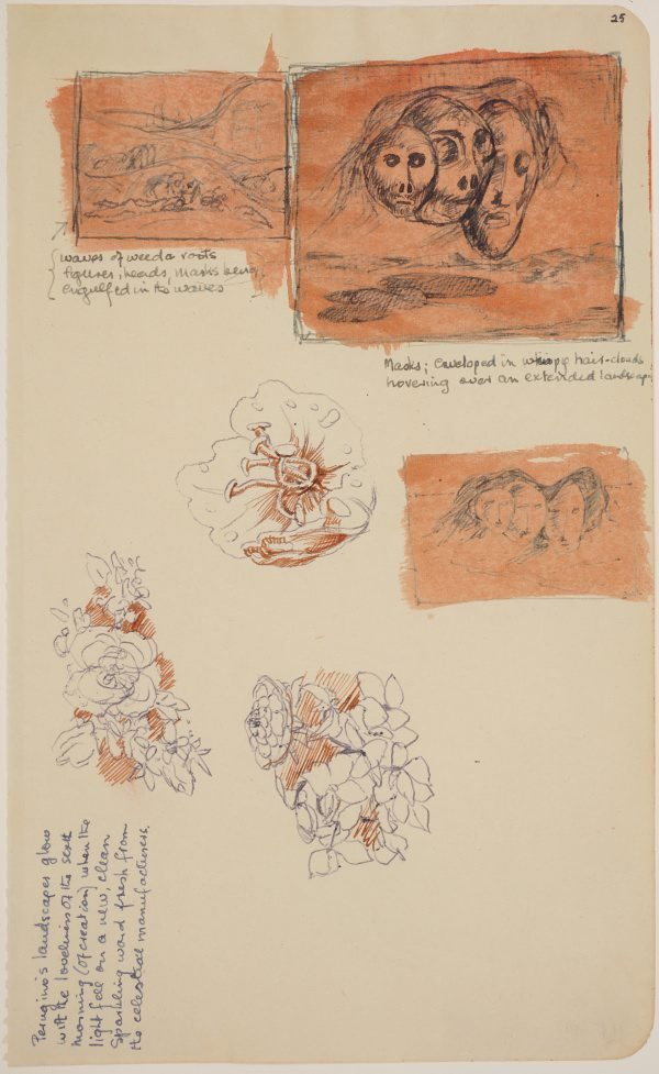 An image of (Studies for three floating heads, plant forms)