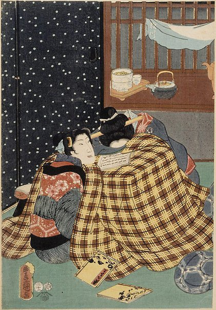 An image of (Two women in kotatsu heater) by Utagawa Kunisada/Toyokuni III