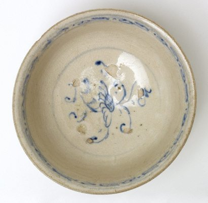 Alternate image of Bowl with stylised floral decoration and calligraphic design on outer rim by
