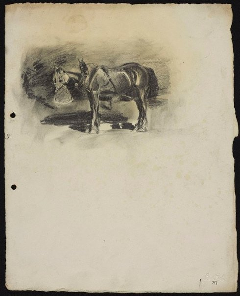 An image of Cart horse feeding by Lloyd Rees