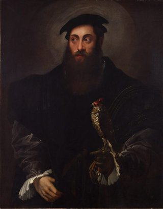 AGNSW collection Nicolò dell'Abate Portrait of a gentleman with a falcon (circa 1548-circa 1550) 167.1991