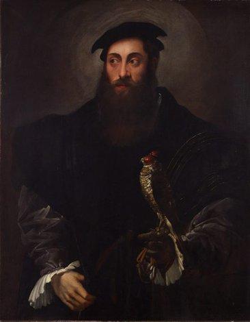 Portrait of a gentleman with a falcon, (circa 1548-circa 1550) by Nicolò dell'Abate