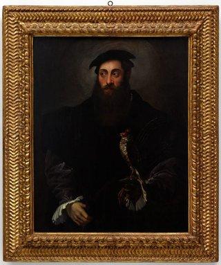 AGNSW collection Nicolò dell'Abate Portrait of a gentleman with a falcon circa 1548-circa 1550