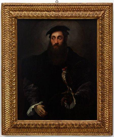 AGNSW collection Nicolò dell'Abate Portrait of a gentleman with a falcon (circa 1548-circa 1550) 167.1991