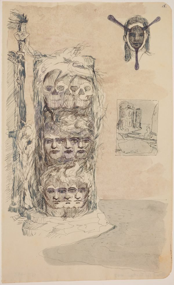 An image of (Study for column of triple heads)