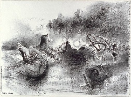 An image of Study for 'The moonrise sharpshooter' by James Gleeson