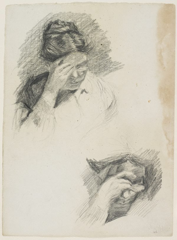 An image of Two studies of mother reading, hand to brow