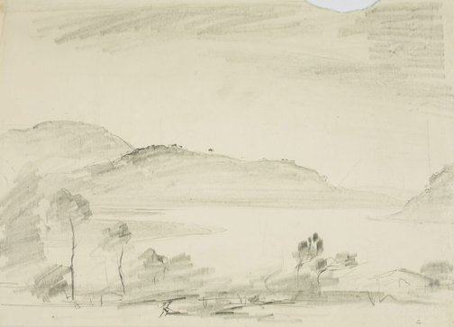 An image of Landscape with water by Lloyd Rees