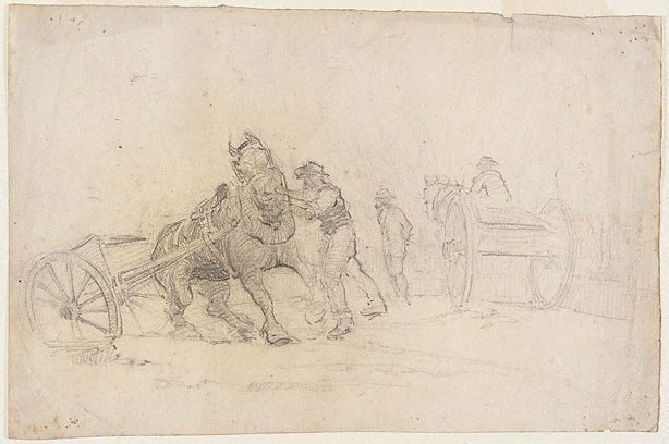 An image of recto: Emptying carts, White Bay verso: Horse and cart study