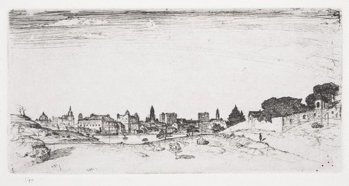 An image of The city from Waverton by Lloyd Rees